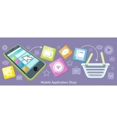 Mobile Application Shop Flat Design vector
