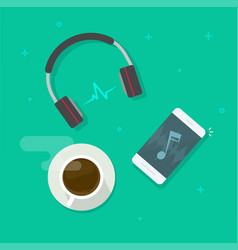 mobile phone playing music via wireless headset vector image
