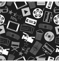 Movie and cinema icons seamless dark pattern eps10 vector