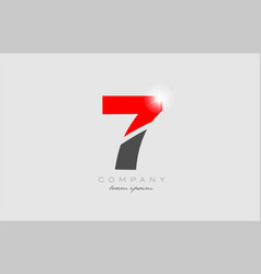 Number 7 in grey red color for logo icon design vector