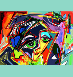 original abstract digital painting of human face vector image