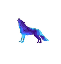 paper cut shape wolf 3d origami vector image
