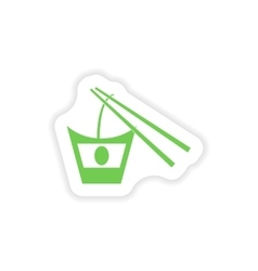 Paper sticker on white background Japanese noodles vector