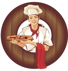 pizza girl in brown wooden frame vector image