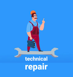 plumber mechanic handyman standing on wrench vector image