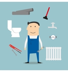 Plumber with tools and equipment vector