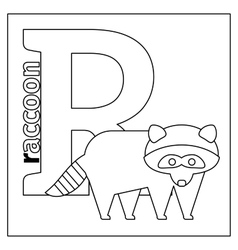 Raccoon letter R coloring page vector