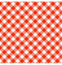 Red and white seamless checkered tablecloth vector