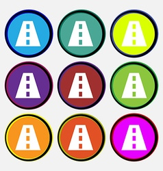 Road icon sign Nine multi-colored round buttons vector
