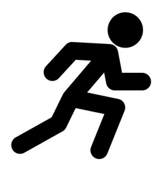 run man icon black color flat style simple image vector image