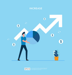 Salary rate increase with growth up arrow vector