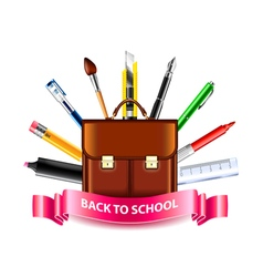 Schoolbag and drawing tools back to school concept vector
