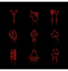 set barbecue and grill thin line icons vector image