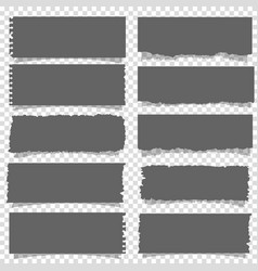 set of black notes paper on transparent background vector image