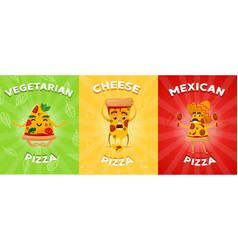 set of flyers or brochure with different pizza vector image