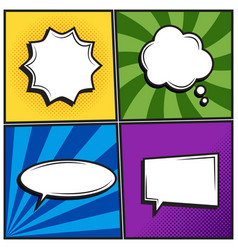set of retro thinking speech bubbles in pop art vector image