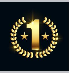 Shiny golden number one star label design vector