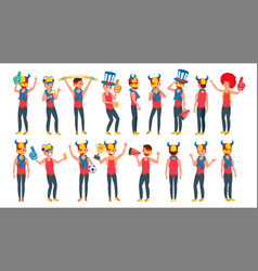 sports fan outfits shouting cheering at vector image