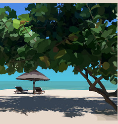 Sunny landscape with tropical tree with beach vector