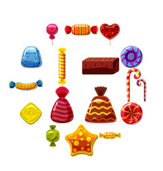 sweets cakes icons set cartoon style vector image