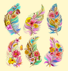 tattoo art design of floral feather collection vector image