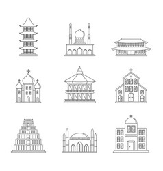 temple tower castle icons set outline style vector image