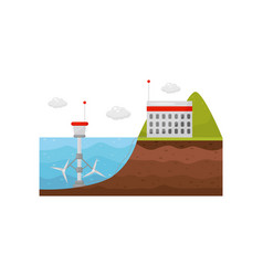 tidal power station energy production obtained vector image