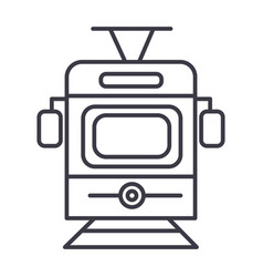 traintram front view line icon sign vector image