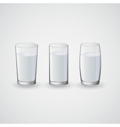 transparent glasses with water vector image