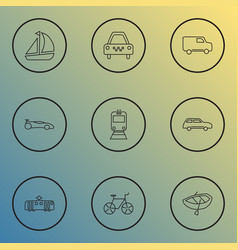 Transport icons line style set with city car ship vector