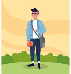 University man with bag and study book vector