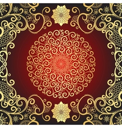 Vintage gold and dark red frame vector