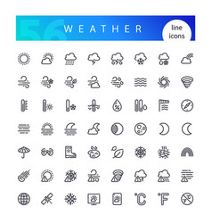 Weather line icons set vector