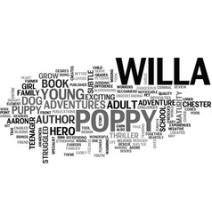 Willa s poppy book review text word cloud concept vector
