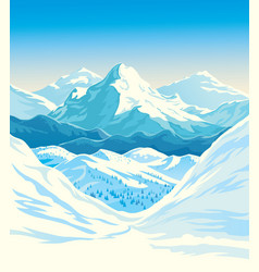 Winter mountain landscape with steep slopes along vector