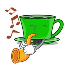 With trumpet green tea mascot cartoon vector