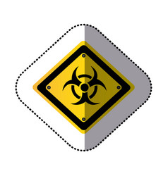 Yellow metal biohazard warning sign icon vector