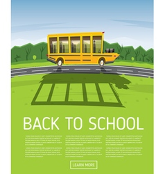 Yellow School Bus Driving Along Country Road vector image