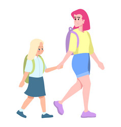young mother with blonde daughter going to school vector image