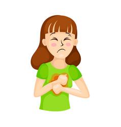 Young woman suffering from coronavirus symptom vector