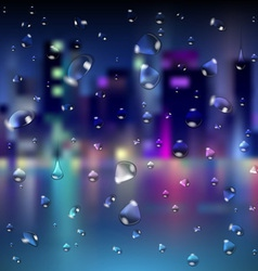Abstract blur night city background vector image