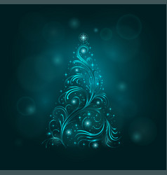 background with a christmas tree vector image vector image