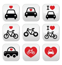 I love cars and bikes buttons set vector image vector image