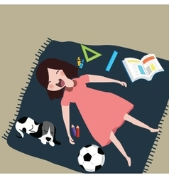 kids girls smile laughing while sleeping with her vector image vector image
