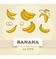 Set of Cartoon Yellow Bananas vector image