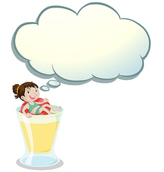 A happy girl enjoying above the glass with an vector image vector image