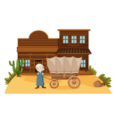 Arab man stands in western town vector