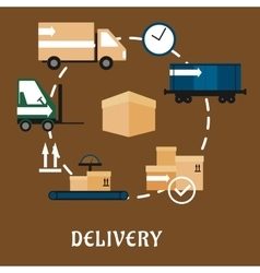 Delivery shipping and logistics flat icons vector image vector image