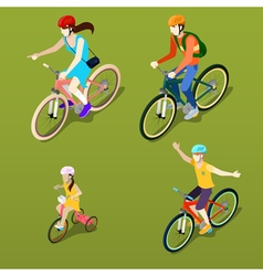 Isometric People Isometric Bicycle Family Cyclists vector image vector image