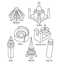 landmark set vector image